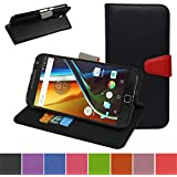 MOTO G4 / G4 Plus Case,Mama Mouth [Stand View] Premium PU Leather [Wallet Case] With Card Slots Cover For Motorola Moto G4 / G4 Plus G 4th Generation Smartphone,Black