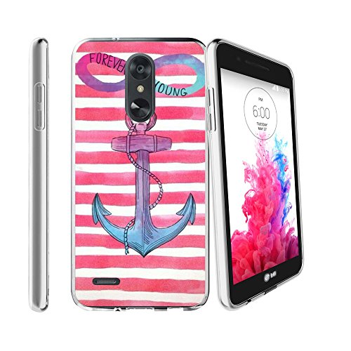 (Premium MINITURTLE Case Compatible with LG Zone 4 / Aristo 2 / Rebel 3 LTE/Tribute Dynasty (2018) [Flex Force Clear Case Collection][Ligthweight Flexibility] - Pink Anchor Chevron)