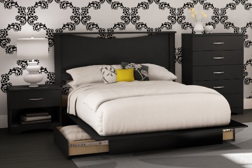 South Shore Bedroom Set Step One Collection, Black, 4-Piece