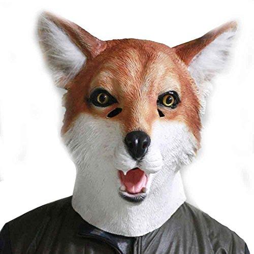 (Latex Adult Red Fox Animal Head Mask Full Overhead Halloween Costume)