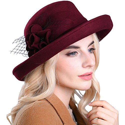 Maitose Women's Wide Brim Wool Felt Bowler Hat Wine Red