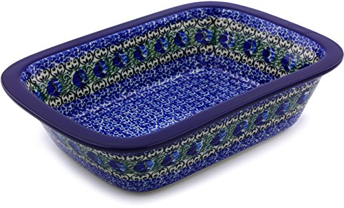 Polish Pottery 9¾-inch Rectangular Baker made by Ceramika Artystyczna + Certificate of Authenticity (Peacock Feather Theme)