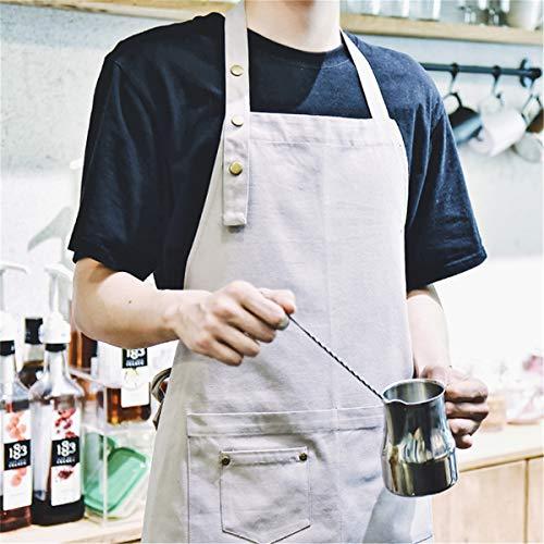 HouSea Cotton Aprons for Women Men with Pockets Art Artist Waterproof Restaurant Kitchen Cooking Workshop Dishwasher… 2