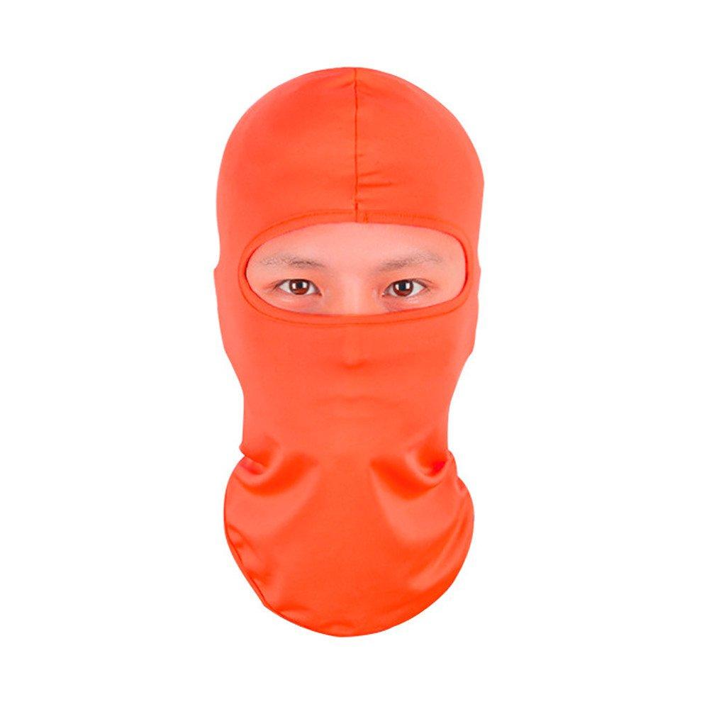 Shybuy Balaclava Ultra-Thin Ski Face Mask Motorcycle Cycling Bike Warm Balaclava Bandana Hiking Skateboard Hood for Women Men (Orange)
