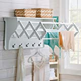 Classic White Wall Mount Clothing Drying Rack Clothes Hanger Laundry Room Air Dry