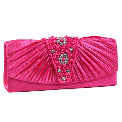 Magnetic Front Flap (Damara Women's Pleated Magnetic Front Flaps Pearl Evening Bag Clutch Handbag,Rose)