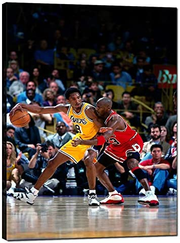 NBA Legends Basketball Star Kobe Bryant Vs Michael Jordan Posters Classic Matchup Picture HD Printed Stretched and Framed