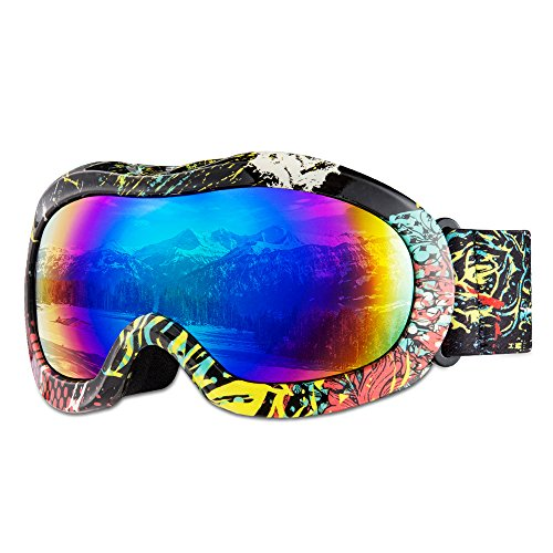 Ski Goggles Kids - Jet Vintage White Snowboarding Goggles for Mens Womens Girls Youth Boys Skiing Snowboard Goggles including 1 Package by GIOHOS - 100% UV Protection Various Colors ( Anti - Fog ) (Snowboarding Packages Women)