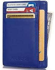 حامل بطاقة الائتمان جلد أصلي نحيف ورقيق محفظة الحد الأدنى مشبك النقود RFID بلوكينغ