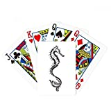 Hippocampus Marine Life Black Illustration Poker Playing Card Tabletop Board Game Gift