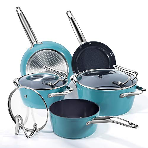 Nonstick Pot and Pan Cooking Set, REDMOND Kitchen Ceramic Cookware Set for Stovetops, Induction Cooktops, Dishwasher…