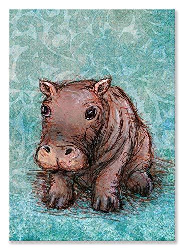 Oopsy Daisy Little Baby Canvas Wall Art, Aqua Hippo, 10