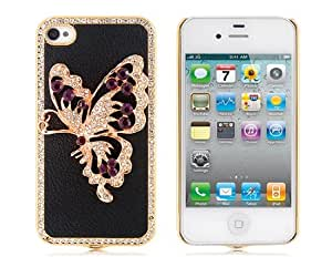 L&F - Butterfly Pattern Skinning Case with Diamond Decoration for iPhone 4/...