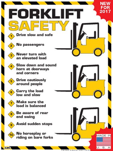 """Forklift Safety Rules Poster (24"""" x 36"""")"""