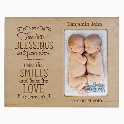 - LifeSong Milestones Personalized New baby gifts for twins picture frame for boys and girls Custom engraved photo frame for new parents nana,mimi and grandparents (Maple)