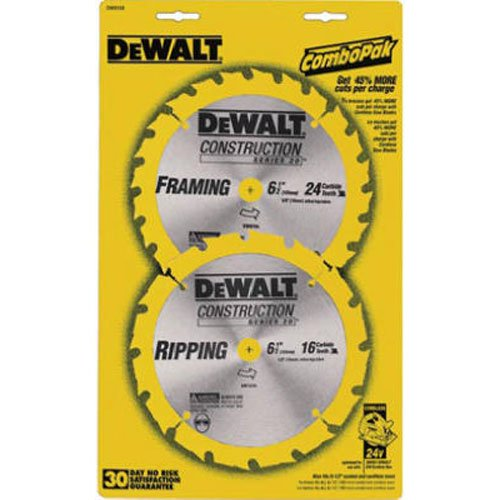 DEWALT DW9158 6-1/2-Inch Saw Blade Pack with 18- and 24-Tooth Saw Blades, ()