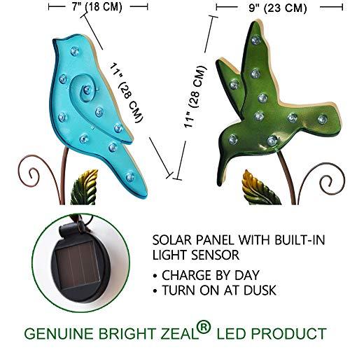 Bright Zeal /Set of 2/ Metal Solar Light Blue & Green Birds Outdoor - Metal  Yard Art Statues Stake - LED Garden Stake Light Solar Powered - Solar Bird