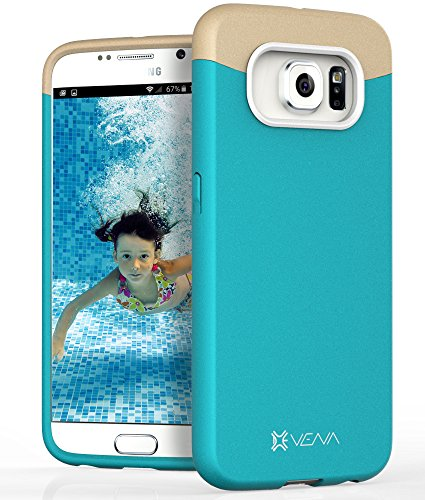 Samsung Galaxy S6 Case, VENA [iSlide] Slim Fit Hard Rubber-Coated Case Cover for Samsung Galaxy S6 (Topaz Blue/Champagne Gold)