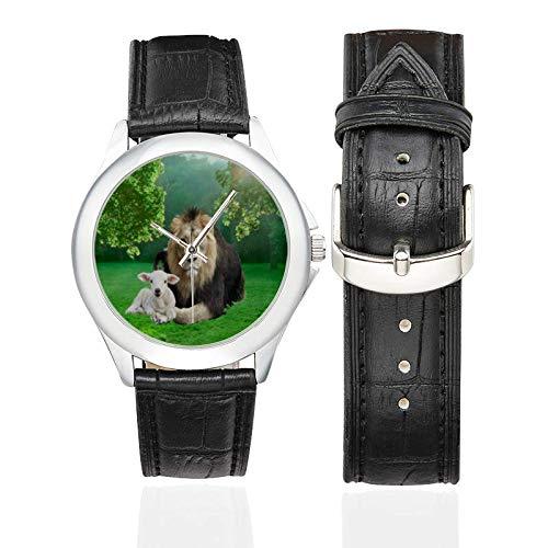 Women's Classic Leather Strap Watch Custom Lion Lamb Pattern