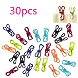 Dealzip Inc Cute 30 pcs PVC-Coated Steel Wire Clips Memo Photo Clips Peg Decoration Metal Clothes Drying Racks Mini Craft Paper Clips