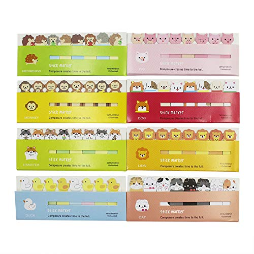 (8 Packs) Cute Animals Sicker Bookmarks Memo Pad Sticky Notepaper Sticky Notes Page Flags Self-Stick Tab Bookmark Marker Pad Cartoon Office School Supplies (A2)