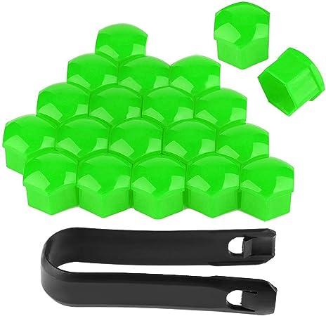 Duokon Auto Radmutter Schutz 20 Stück 19mm Auto Radmutter Kappen Auto Nabe Schraube Abdeckung Bolzen Felgen Außenschutz Grün Auto