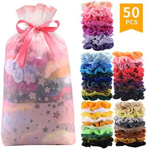 50 Pcs Premium Korean Velvet Hair Scrunchies Hair Bands Scrunchy Hair Ties Ropes Scrunchie for Women or Girls Hair Accessories