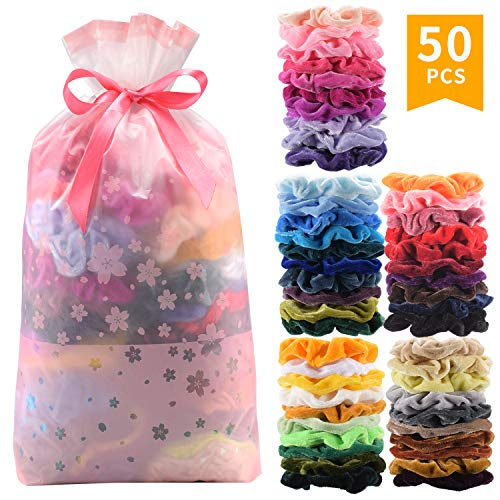 50 Pcs Premium Velvet Hair Scrunchies Hair Bands Scrunchy Hair Ties Ropes Scrunchie for Women or Girls Hair Accessories (50 Color Premium Velvet Scrunchies)