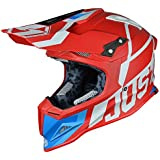 JUST1 J12 Unit Carbon Fiber Shell Off-Road Adult Motorcross Motorcycle helmet (Flat White, Carbon Unit Red White-Large)