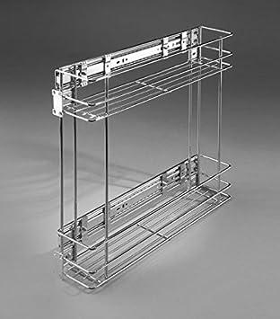 Estante lateral para despensa, cierre suave, cesta de alambre, armario de almacenamiento, para cocina, metal, 2-levels Chrome, side-mounted 200 mm: ...