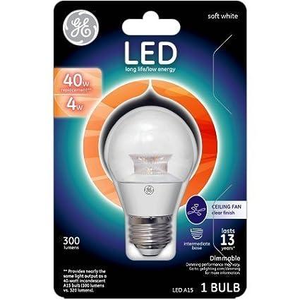 1 Bulb 300 Lumens Clear Finish Medium Base Ceiling Fan LED Light Bulb GE Lighting 4-Watt 40-Watt Replacement