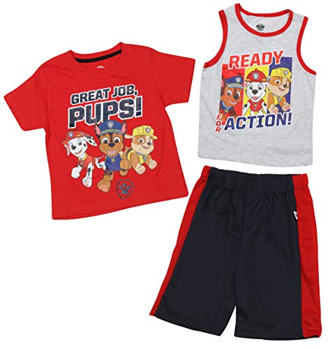 Nickelodeon Paw Patrol Boys 3-Piece Summer T-Shirt, Tank Top, and Short Set (Toddler/Little Boys), Ready for Action, Size -