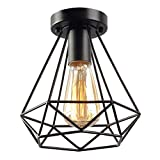 KOONTING Vintage Industrial Rustic Flush Mount Ceiling Light, Metal Pendant Lighting Lamp Fixture for Hallway Stairway Porch Bedroom Kitchen.