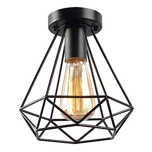 KOONTING Vintage Industrial Rustic Flush Mount Ceiling Light, Metal Pendant Lighting Lamp Fixture for Hallway Stairway Porch Bedroom Kitchen. Review