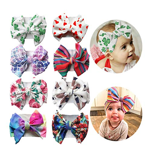 2019 Big Hair Bow Baby Headbands Knot Headwrap Nylon Elastic Head Wraps for Newborn Infant Toddler Hair Accessories (2019-F 8 Pack) (Best Bow Accessories 2019)