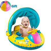 R • HORSE Inflatable Baby Pool Float Swimming Ring with Sun Canopy for the Age 6-48 Months with Water-polo & Fluorescent Wristband