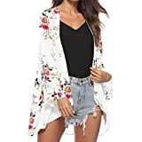 OVERMAL Clearance Women's Floral Print Sheer Chiffon Loose Kimono Long Blouse Loose Beach Cover up (L, White)