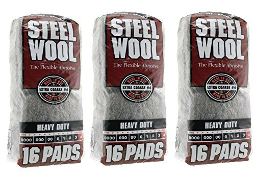 Homax Group Inc 4 Steel Wool Extra Coarse 16 Pads - 3 Pack (48 Pads) by Homax Products