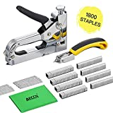 Staple Gun with Remover - 3 in 1 Heavy Duty Staple Nail Steel Gun Kit with 1800 Staples, Upholstery Stapler for Fixing Material, Decoration, Carpentry, Furniture, Doors and Windows
