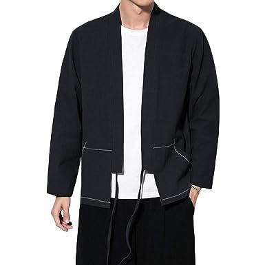 6a026dd892d60f INVACHI Fashion Men's Cotton Blends Linen Cloak Open Front Cardigan Kimono  Jackets