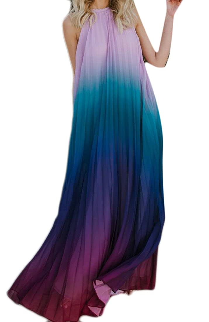 51929957d6 Hurrg Women Boho Gradient Color Halter Backless Flowy Sexy Maxi Dress at  Amazon Women s Clothing store