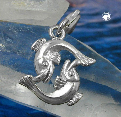 Bijoux Breloque charm argent 925 poissons 14 x 14 mm