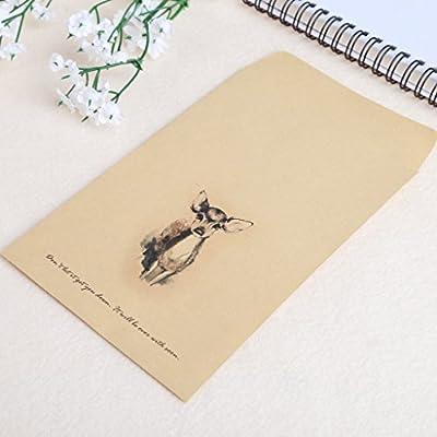 Zhoujinf-12 sobres de papel estilo europeo vintage de ciervos