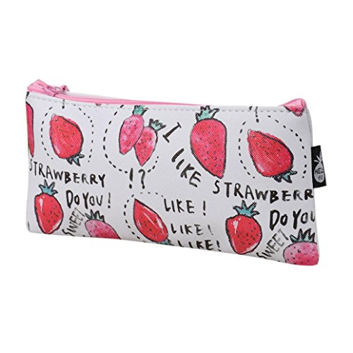 Luweki Canvas Fruit Pencil Pen Case Cosmetic Makeup Travel Pouch Bag Students (One Size, Strawberry) (Fruit Hamper Delivery)