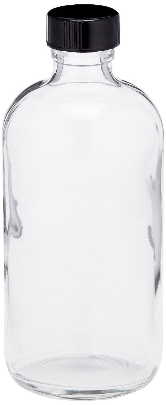 JG Finneran D0149-8 Clear Borosilicate Glass Standard Boston Round Bottle with Black Phenolic Closure, PE Cone Lined, 24-400mm Cap Size, 8oz Capacity (Pack of 12)
