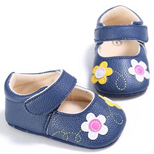 Tefamore Flor Zapatos Bebe Zapatillas De Deporte Ocasional Antideslizante Suela Suave Toddler de la letra de la niña Azul