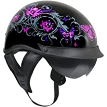 Outlaw T-72 Dual-Visor Glossy Motorcycle Half Helmet with Graphics of Flowers a - Medium
