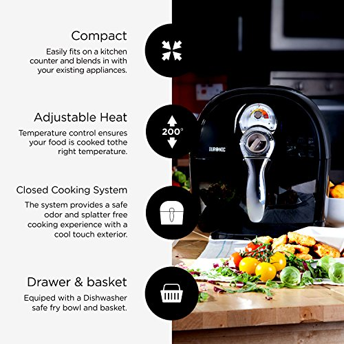 -[ Duronic Air Fryer AF1 /B 1500W Multicooker Mini Oven - Black - Recipe Book Included - Healthy Co