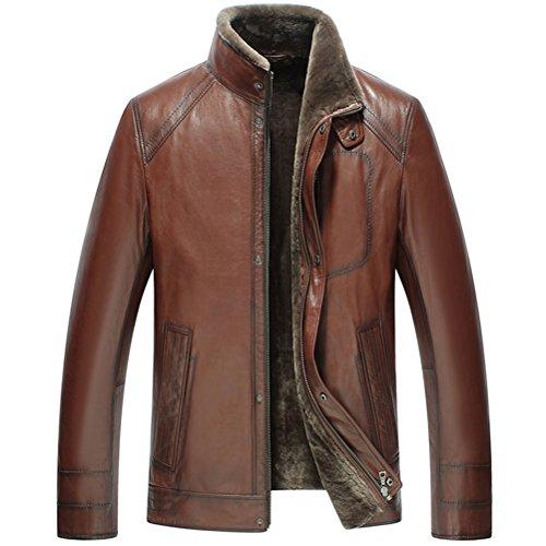 CWMALLS Men's Brown Shearling Lambskin Jacket CW858106