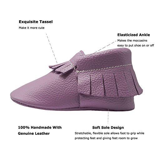 Pictures of YIHAKIDS Baby Tassel Shoes Soft Leather Sole Infant Toddler Moccasins First Walkers Shoes Multi-colors (US 4M (4.5in/3-6Mo.), Light Purple) 8